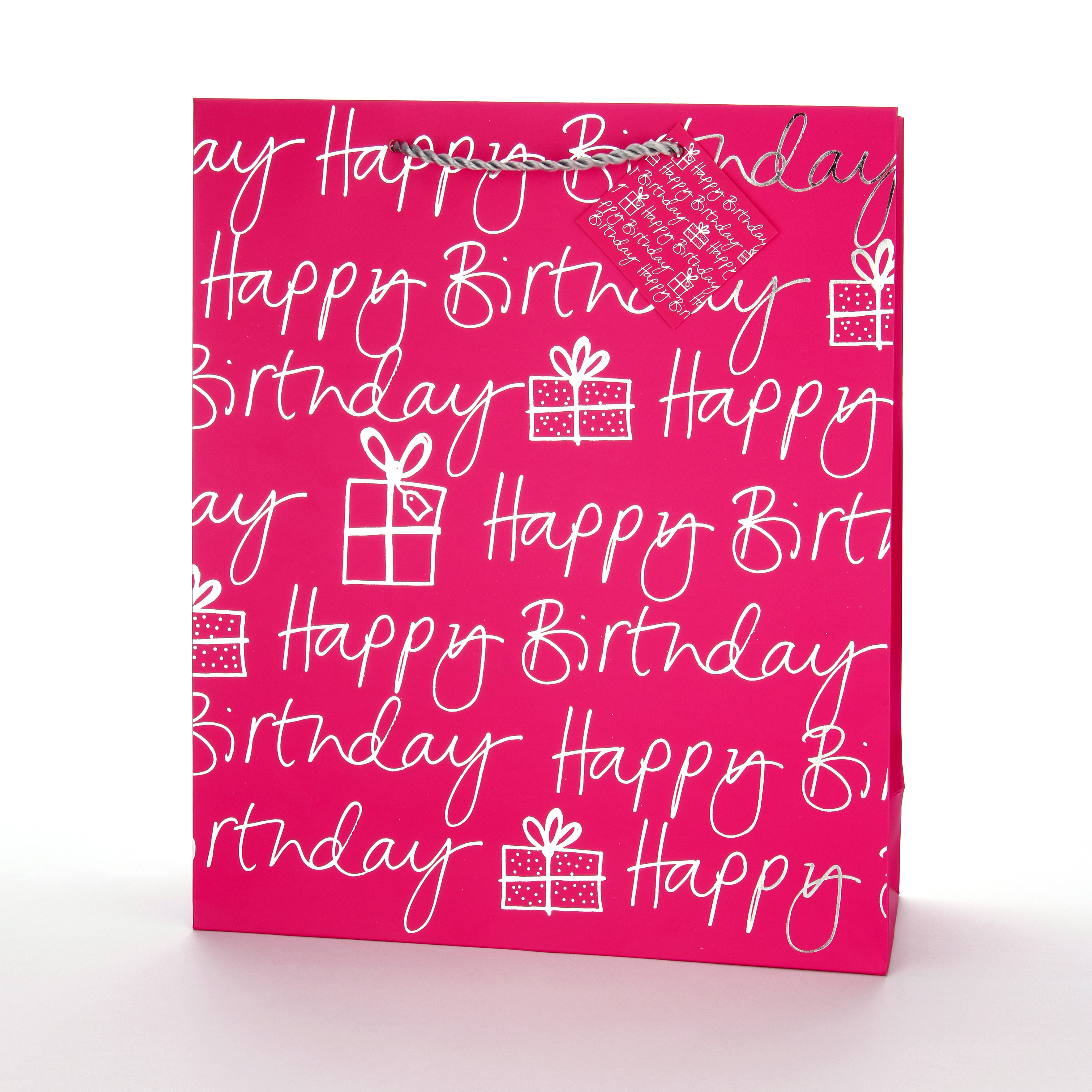 Home CLASSIC GIFT OTHER GIFTS BAGS Glick Extra Large Handle Gift Bag Happy Birthday Pink